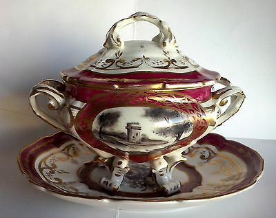 19Th Century French Porcelain Footed Sauce Tureen With Platter Landscape