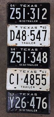Vintage Texas License Plates. Lot Of 5. 60's Era.
