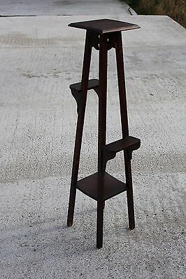 Vintage Oak Pedestal Display Table Plant Church Stand With Side Display