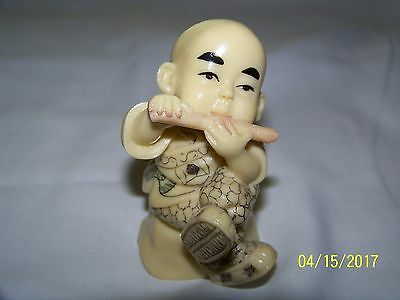 "Unique Hand Painted *young Boy Budda With Flute*  3"" High 1.5/8"" Wide"