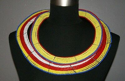 African Maasai Masai Beaded Ethnic Tribal Collar Necklace Jewelry - Tanzania