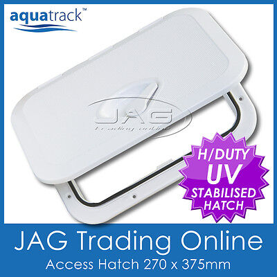 AQUATRACK WHITE ACCESS HATCH & LID 270 x 375mm - Boat/Marine/RV/Caravan/Storage