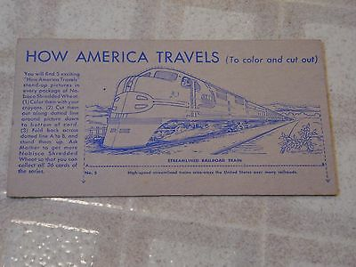 Vintage 1940's Nabisco Shredded Wheat How America Travels Card #5 ~ Train