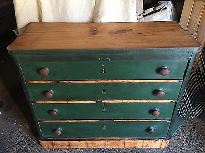 Old Pine Painted Chest Of Draws