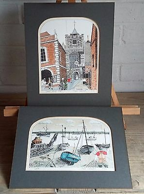Stunning Pair Of Vintage Hand Signed Chad Coleman Ltd. Edition Coloured Prints