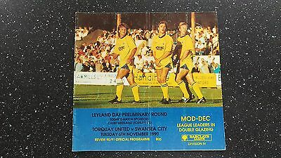 Torquay United V Swansea City 1990-91