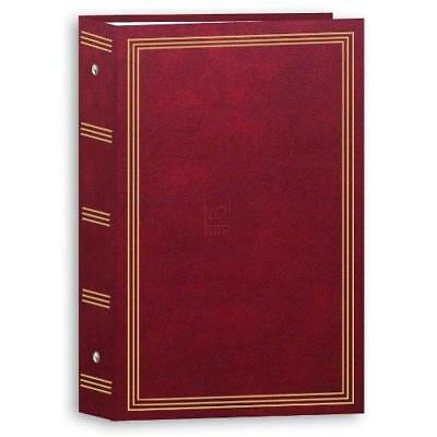"""Photo Album 3 Ring Pocket Storage Case Picture Book 4x6"""" Holds 504 Burgundy New"""