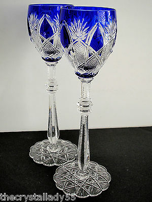 "2 Faberge Czar Imperial Cobalt Blue Cased Cut To Clear 10 5/8 ""  Wine Goblets"
