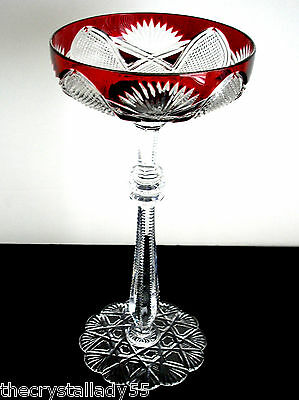 1 Faberge Czar Ruby Red Cased Cut To Clear Saucer Champagne Signed