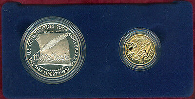 Gem Proof 1987 Constitution 2 Coin Commem Set with $5.00 Gold & Silver Dollar