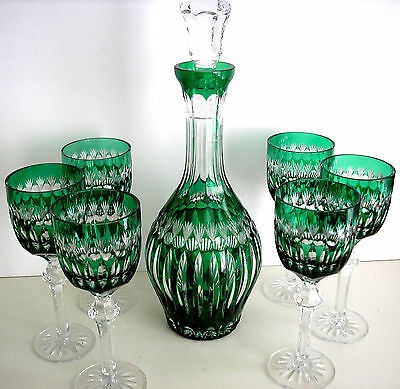 Ajka Emerald Green Cased Cut To Clear Crystal Decanter & 6 Wine Goblets