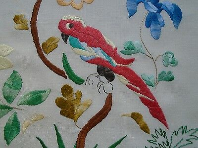 VINTAGE HAND EMBROIDERED CUSHION COVER.- Bird with flowers. LOVELY.