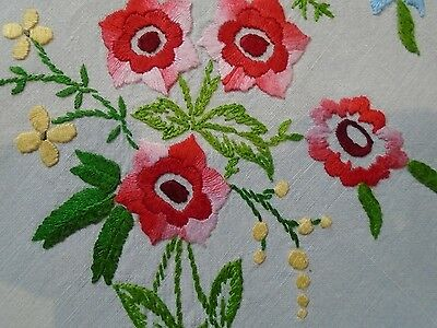 Lovely Vintage Hand Embroidered  linen Tablecloth .