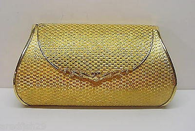 Gold Metal Weave Clutch Purse Evening Bag Harry Rosenfeld Italy Vintage 1960s