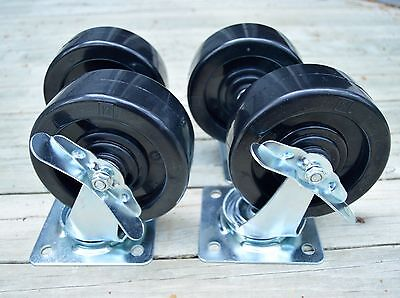 """4 Seville Cabinet Heavy Duty Wheels Casters 2 Locking ..Brand New . Large . 5"""""""