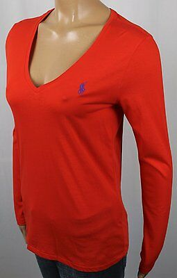 Ralph Lauren Orange Long Sleeve Tee Shirt V-Neck Purple Pony NWT