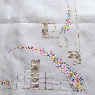 Vintage Linen Tablecloth 50 x 50ins, Hand Embroidered Flowers, Ladderwork? Inlay