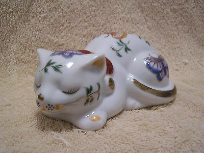 Oriental Porcelain Figurine Sleeping Cat with Butterflies & Gold Detailing