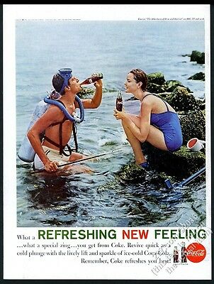 1961 Coke scuba diving diver & swimsuit woman photo Coca-Cola vintage print ad