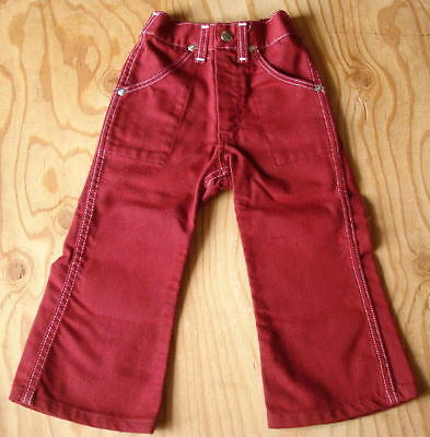 70s Vtg Sears Childs/Toddler Red Bellbottom Bootcut Western Jeans Size 3
