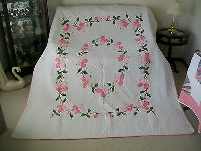 """Vintage Hand Applique Pink Dogwood Quilt - 74"""" x 90"""" - Hand Quilted - Beautiful"""