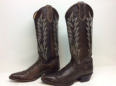 Womens Justin Snip Toe Cowboy Leather Brown Boots Size 8.5 B
