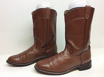 Vtg Womens Unbranded Western Roper Leather Brown Boots Size 8.5 M