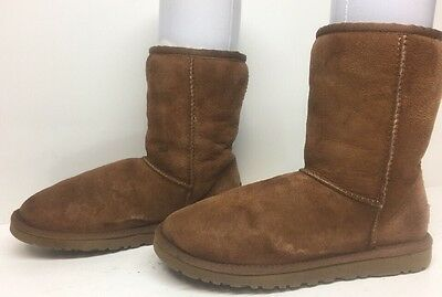 #9 Womens Ugg Australia Winter Suede Sheepskin Leather Brown Boots Size 6