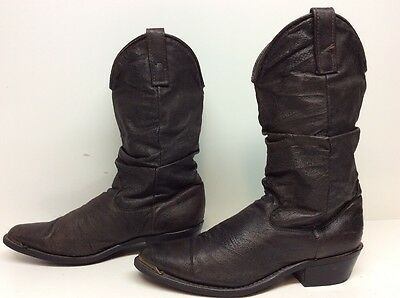 Womens Dingo Toe Rand Cowboy Leather Dark Brown Boots Size 7 D