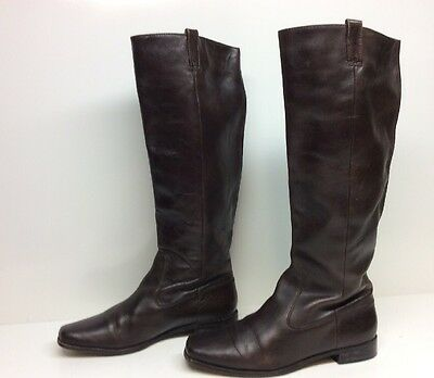 Womens Michael Kors Square Toe Riding Leather Brown Boots Size 10 M