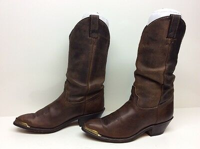 Vtg Womens Code West  Toe Rand Cowboy Leather Brown Boots Size 7 M