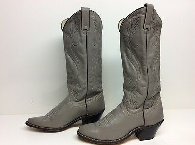 Vtg Womens Acme Cowboy Leather Gray Boots Size 7 M