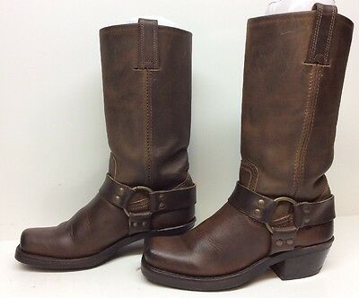 #e Vtg Womens Frye Harness Motorcycle Leather Brown Boots Size 6 M
