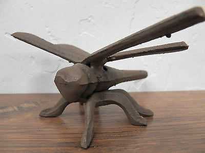 """Fun Small Rustic Primitive 4"""" Long Cast Iron Dragonfly Garden Bug Insect"""