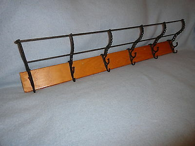 Vintage Large Antique 6 Two Step Hooks Coat Hat Rack Wall Mount Double Towel Bar