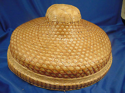 Vietnamese bamboo straw hat rice patty coolie Asian cultural Viet Nam vintage