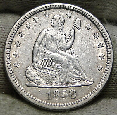 1858 Seated Liberty Quarter 25 Cents - High Grade Coin, Free Shipping (5450)