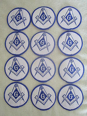 """Patch Lot of 12 MASONIC FREEMASON Square & Compass EMBROIDERED PATCHES 3"""" round"""