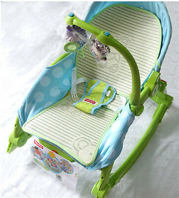 Baby Infant Three Rocking Chair Stroller Linen Mat Bouncer Fisher Seat Pad Green
