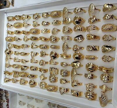 wholesale lots mixed 10pcs top-quality Fashion sports tribal lady's gold rings