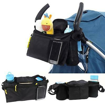 Kids Baby Stroller Safe Console Tray Pram Hanging Black Bag/Bottle Cup Holder -S