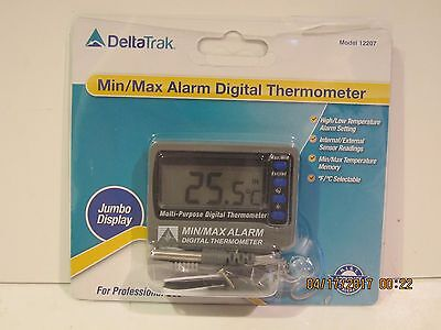 DeltaTRAK,12207 MIN/MAX DIGITAL ALARM Thermometer, FREE SHIP NEW SEALED PACKAGE!