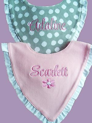 Personalised Baby Bib Bandana Embroidered GIFT New Twins/ Christening/Name Day