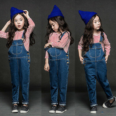 2017 Kids Girls Childrens Dungarees Denim Jeans Overalls Jumpsuit Trousers 2-8Y