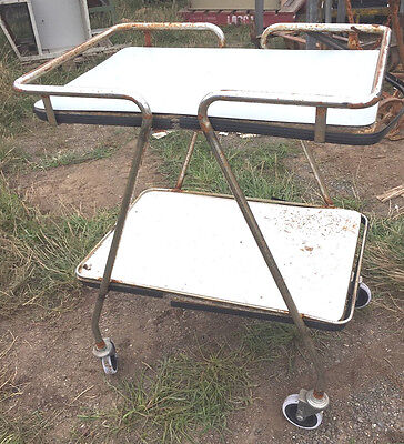 Chrome And Chipboard Laminate Serving Trolley On Castors