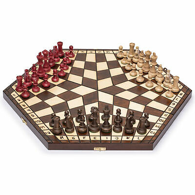 Wooden Three Person Player Wooden Wood Chess - 18.5""