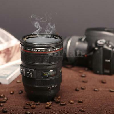 Plastic Camera Lens Cup 24-105mm Coffee Beer Tea Water Travel Mug Gift 450ml