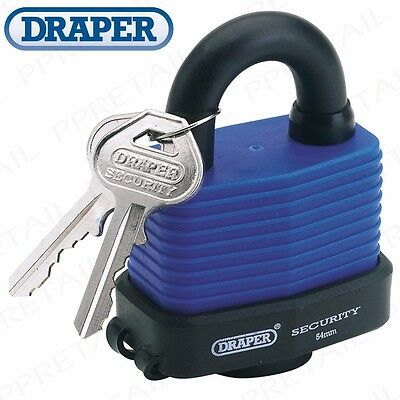 DRAPER PREMIUM HEAVY DUTY WATERPROOF PADLOCK 2 KEYS High Security Safe Outdoor