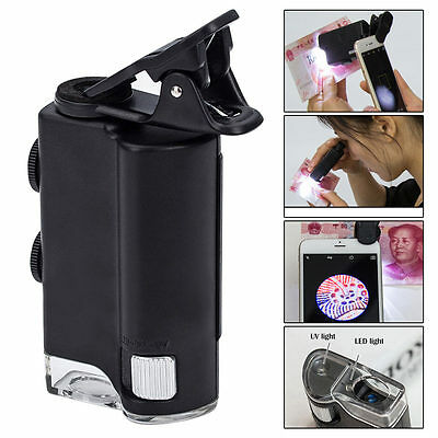 60X-100X UV LED Cellphone Clip Pocket Zoom Jewelry Magnifier Loupe Microscope