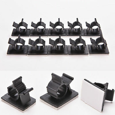 10pcs New Cord Management Holder Adhesive Cable Clips Black Wire Organizer Clamp